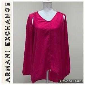 Armani Exchange • Pink Long Sleeve Blouse • Large